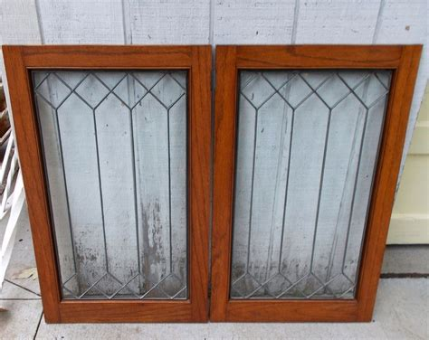 Salvage Cabinet Doors Pair Antique Leaded Glass Window W Frame Architectural Salvage Cabinet Door Ebay