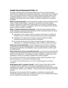 Sexual Harassment Policy Template by Sle Workplace Sexual Harassment Policies Hashdoc