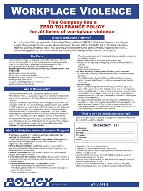 Workplace Violence Poster Workplace Safety Posters Zero Tolerance Policy In The Workplace Template