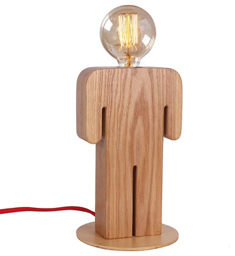 Wooden Indoor Home Lighting Desk Lamp With Unique Boy's Shape Contemporary Table Lamps by