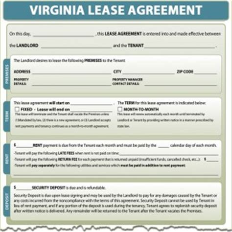 Virginia Lease Agreement Virginia Lease Template