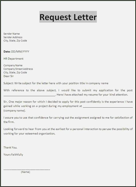 Sle Formal Letter Of Request Format Thepizzashop Co Of Letter Template