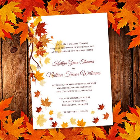 fall printable wedding invitation templates printable wedding invitation template falling by