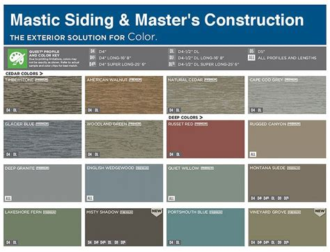 colors of vinyl siding vinyl siding color chart mastic color chart siding