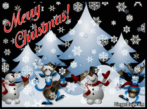 merry christmas cute snowmen  reindeer  falling snow glitter graphic greeting comment