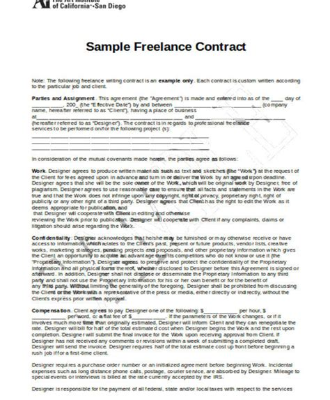 15 freelance contract templates free documents in word