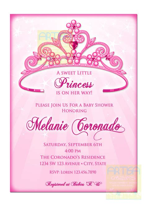 princess crown baby shower invitations theruntime com