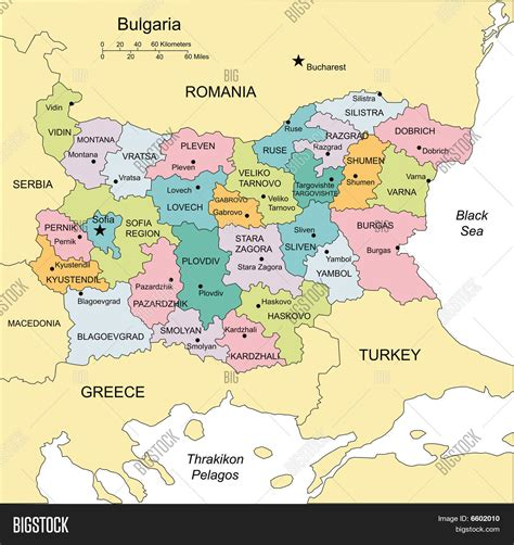 map of and surrounding countries bulgaria with administrative districts and surrounding