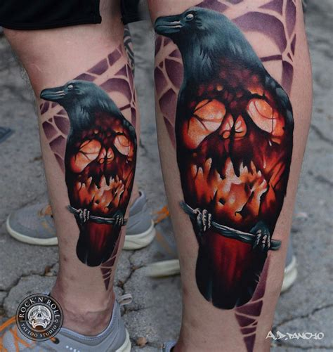 raven skull tattoo with glowing skull best design ideas