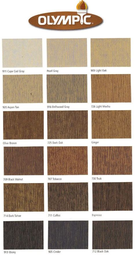 olympic stain colors olympic interior wood stain color chart