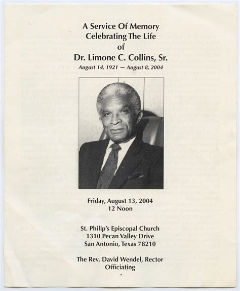 funeral program for limone c collins sr august 13