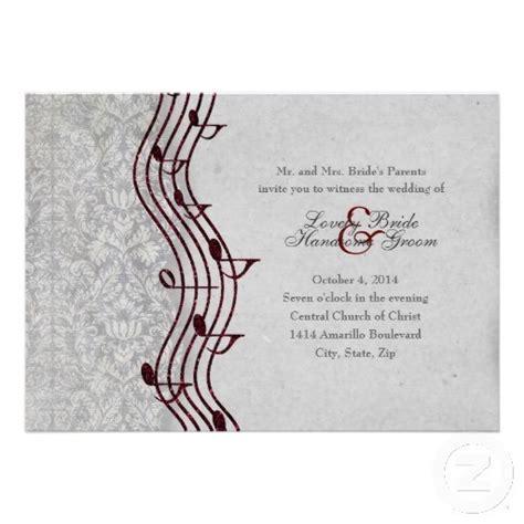 Gray Damask Red Music Elegant Wedding Invitation   Zazzle