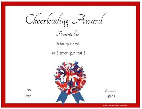 Free Cheerleading Certificates   Customizable