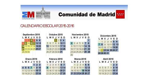 Calendario Escolar Madrid 2014 15 Primaria Calendario Escolar Curso 2015 16 Comunidad De Madrid