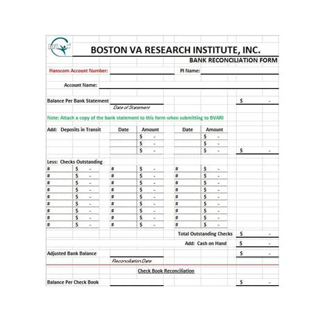 bank reconciliation form 50 bank reconciliation exles templates 100 free
