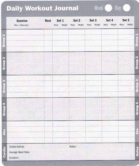 Free Exercise Log Template workout database free printable workout log