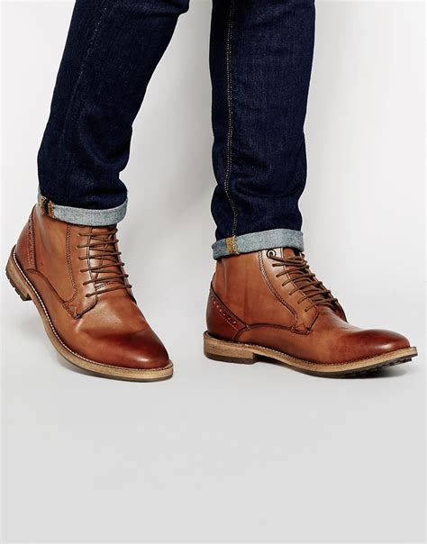 frank wright acton leather boots in brown for lyst