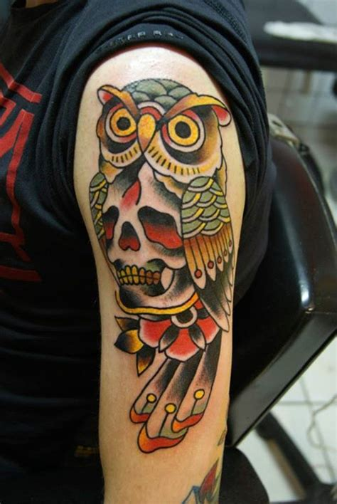 tattoo old school hibou signification briko tattoo inkin