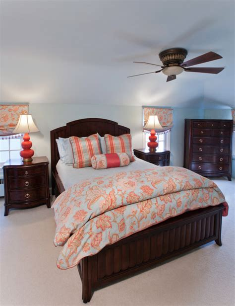 coral and aqua bedroom 1 traditional bedroom other by paula caponetti designs llc