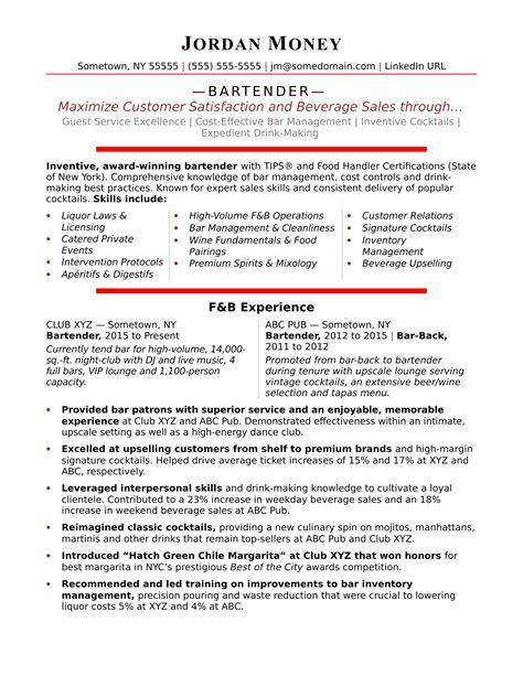 resume examples bartender unforgettable bartender resume examples