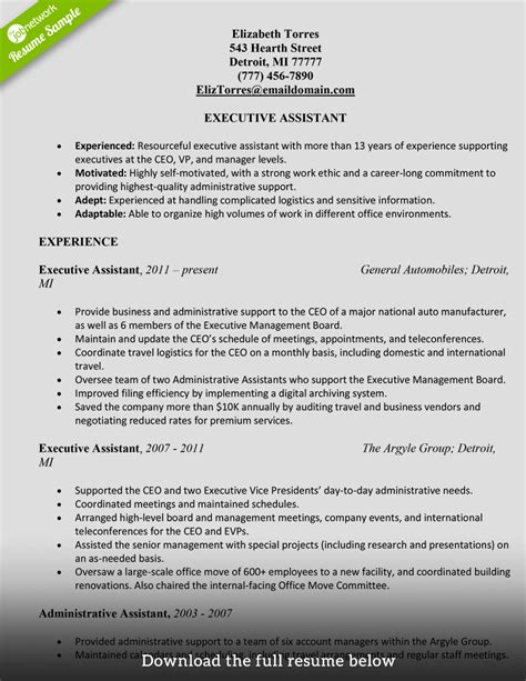 Resume Samples Download In Word by How To Write A Perfect Administrative Assistant Resume