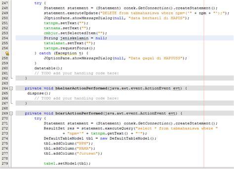 membuat koneksi database mysql membuat form data mahasiswa java netbeans koneksi database