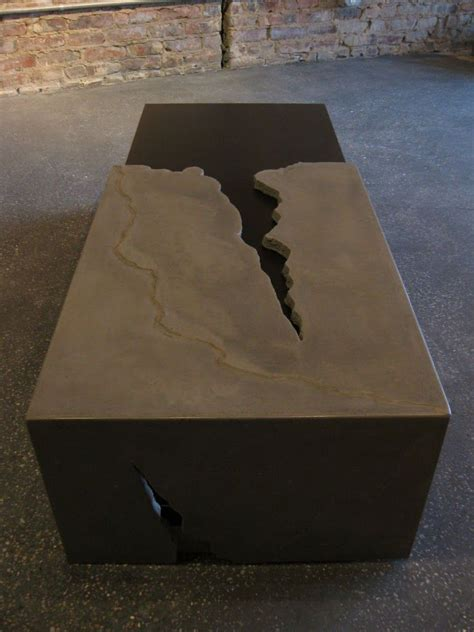 concrete and wood coffee table slab concrete and wood coffee table with fissure detail