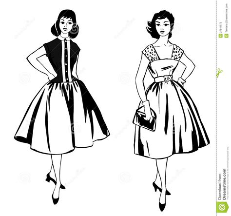 70s Sketches by Stylish Fashion Dressed 1950s 1960s Style Stock