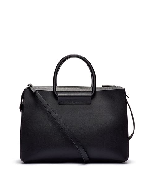 Bag 12 Leather Black lyst the row satchel 12 leather tote bag in black