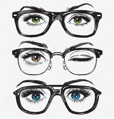 imagenes de ojos hipster ojos de la mujer dibujado a mano con lentes de hipster