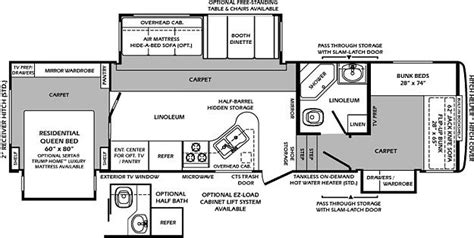 5th wheel bunkhouse floor plans fifth wheel bunkhouse 2 bathrooms images