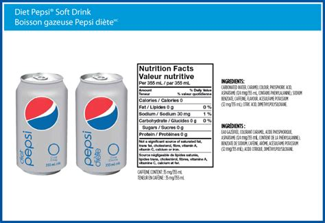 diet pepsi nutrition facts label