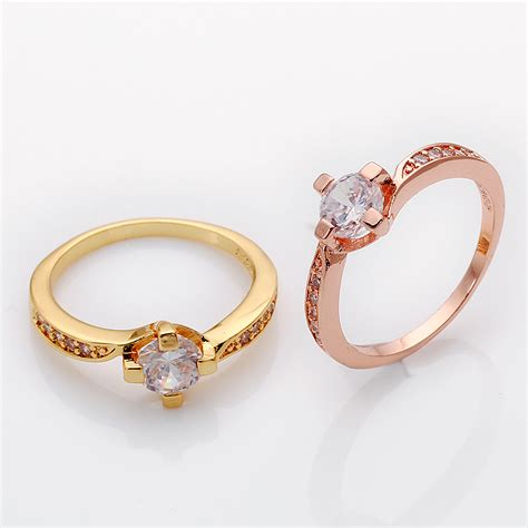 real gold palted italian halo rings white cz for