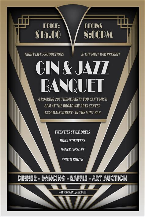roaring twenties invitation template roaring 20s poster