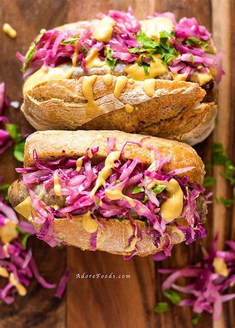 bratwurst and cabbage german bratwurst hot dog with red cabbage sauerkraut