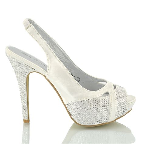 Dressy Wedge Heels For Wedding by Diamante Sandals Womens Dressy Evening Prom Heels