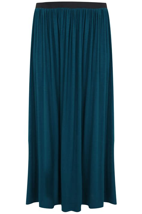 teal maxi skirt with elasticated waistband plus size 14 16