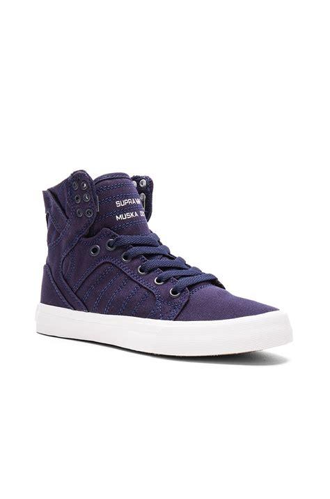 purple high top sneakers lyst supra skytop d high top sneaker in purple