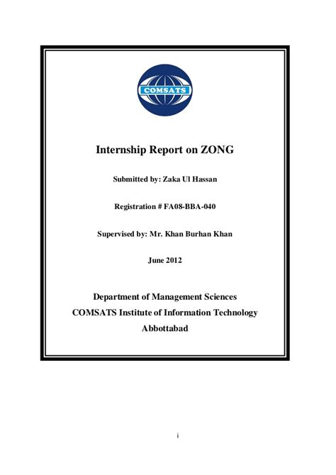 Mba Internship Taxes by Zong Internship Report