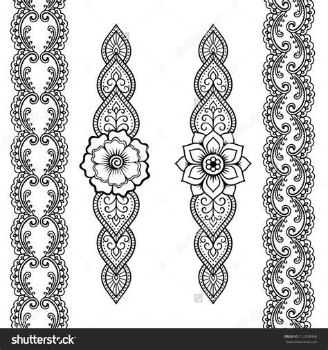 henna tattoo set set of seamless borders for design and application of