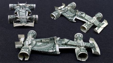 Dollar Bill Origami Car - formula 1 race car money origami vehicle made of real