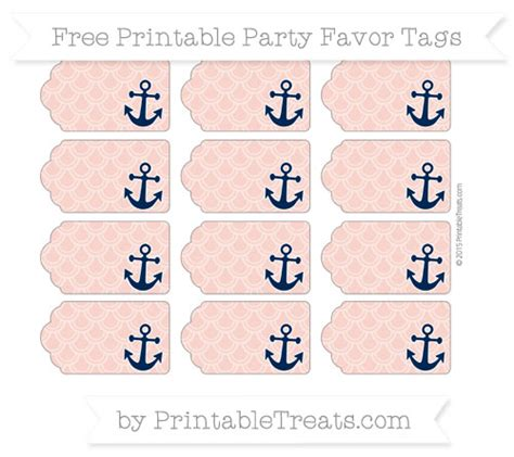 printable anchor gift tags pastel coral fish scale pattern nautical party favor tags