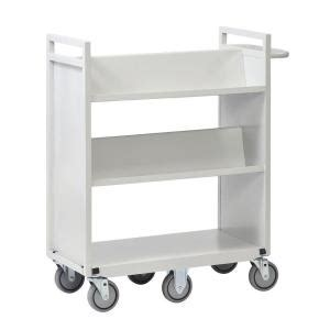 buddy products 36 in w sloped 3 shelf cart with 6 wheels