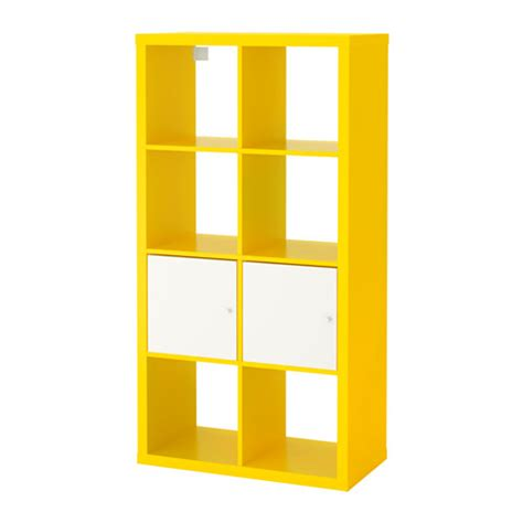 shelving units with doors kallax shelving unit with doors yellow white 77x147 cm ikea