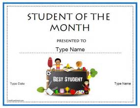 student of the month certificate template education certificates student of the month student of the month