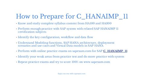 how to get how to get success in sap c hanaimp 11 exam