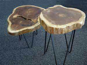 modern interior design wood slab side tables