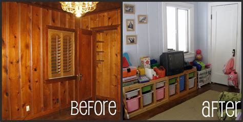 painted wood paneling before after b b painted paneling before after basement remodel pinterest