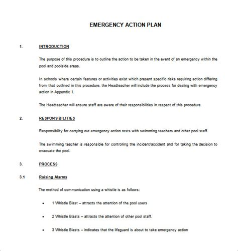 emergency plan template for sports emergency plan template 8 free sle exle