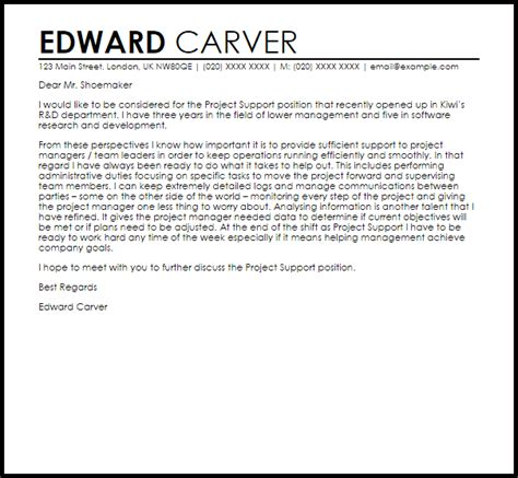 Sle Letter In Support Of Project Project Support Cover Letter Sle Livecareer